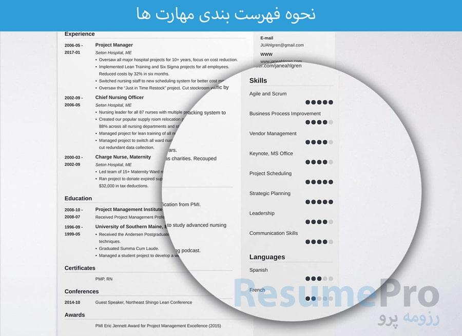فهرست بندی مهارت ها | رزومه پرو