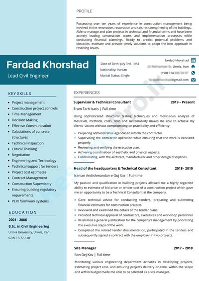 فرداد خورشاد - مهندس ارشد عمران
